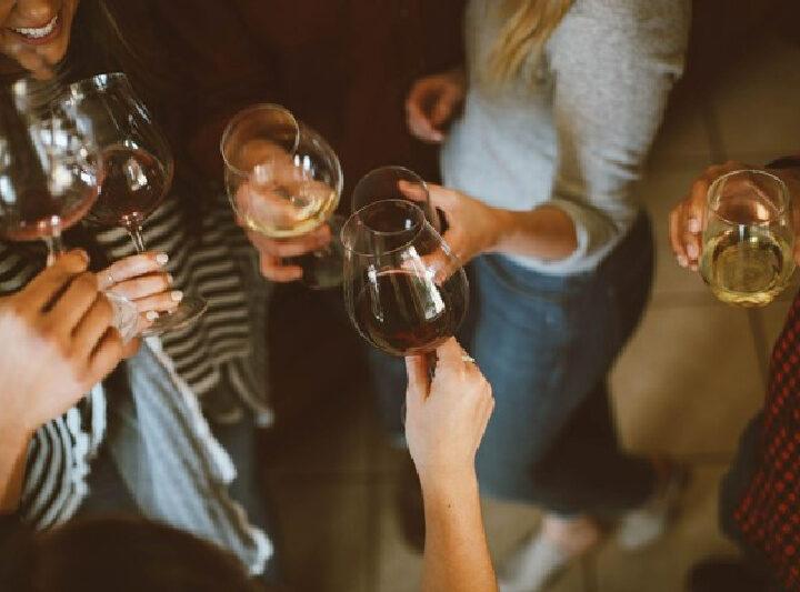 ladies toasting with wine glasses