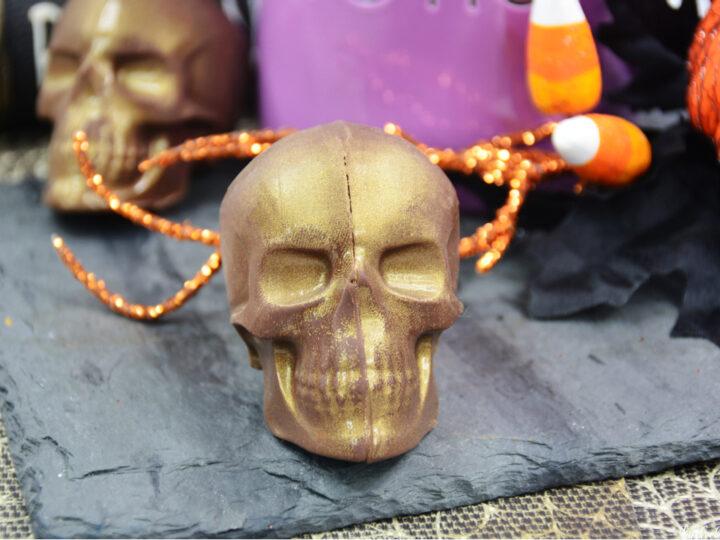 Halloween hot cocoa bomb shaped like a skull