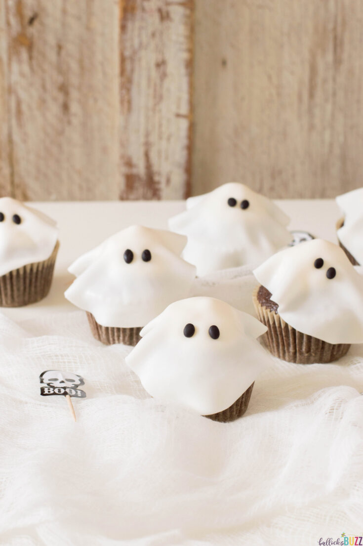 close up of Halloween ghost cupcakes recipe