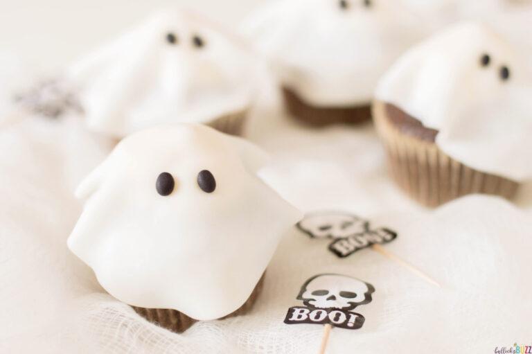 close up of Halloween cupcakes